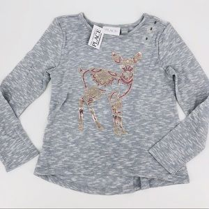 NWT Girls Heather Gray Foil Deer Graphic L/S Top